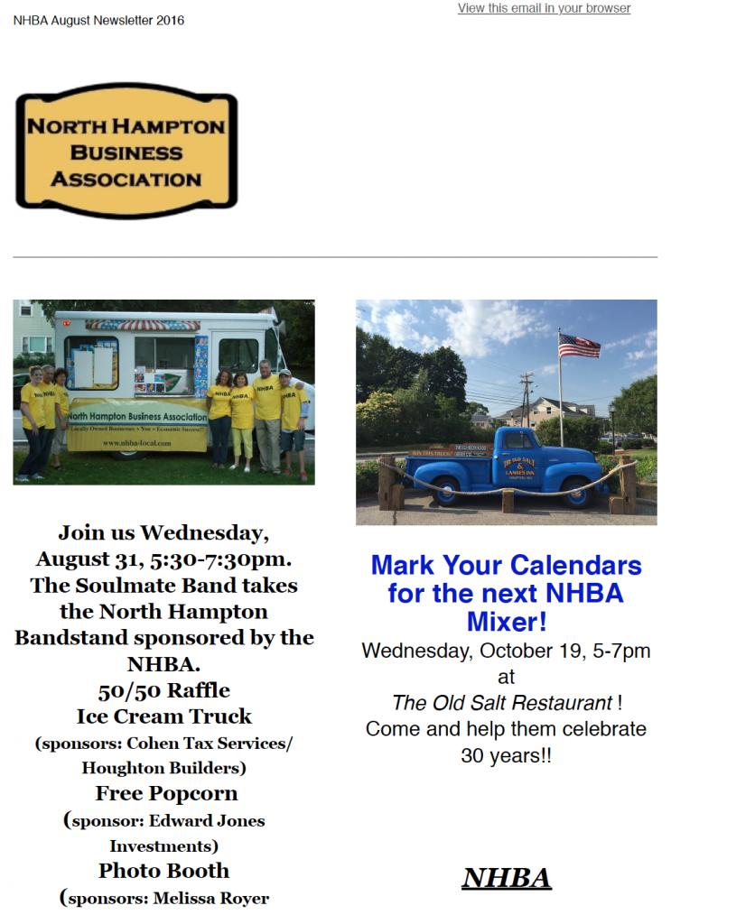 NHBA August 2016 Newsletter