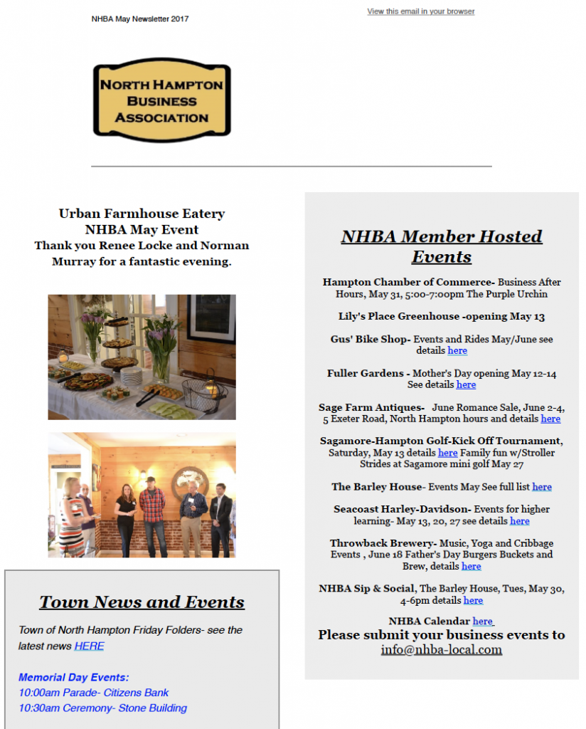 May 2017 Newsletter   North Hampton Business Association