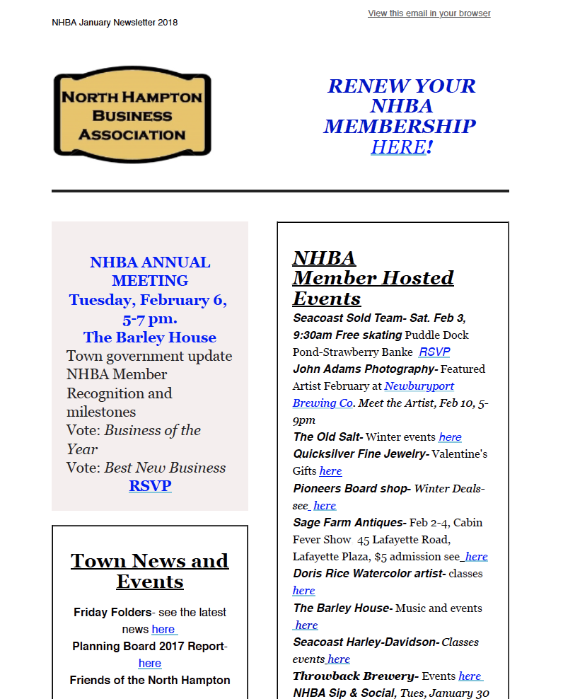 NHBA Newsletter January 2018