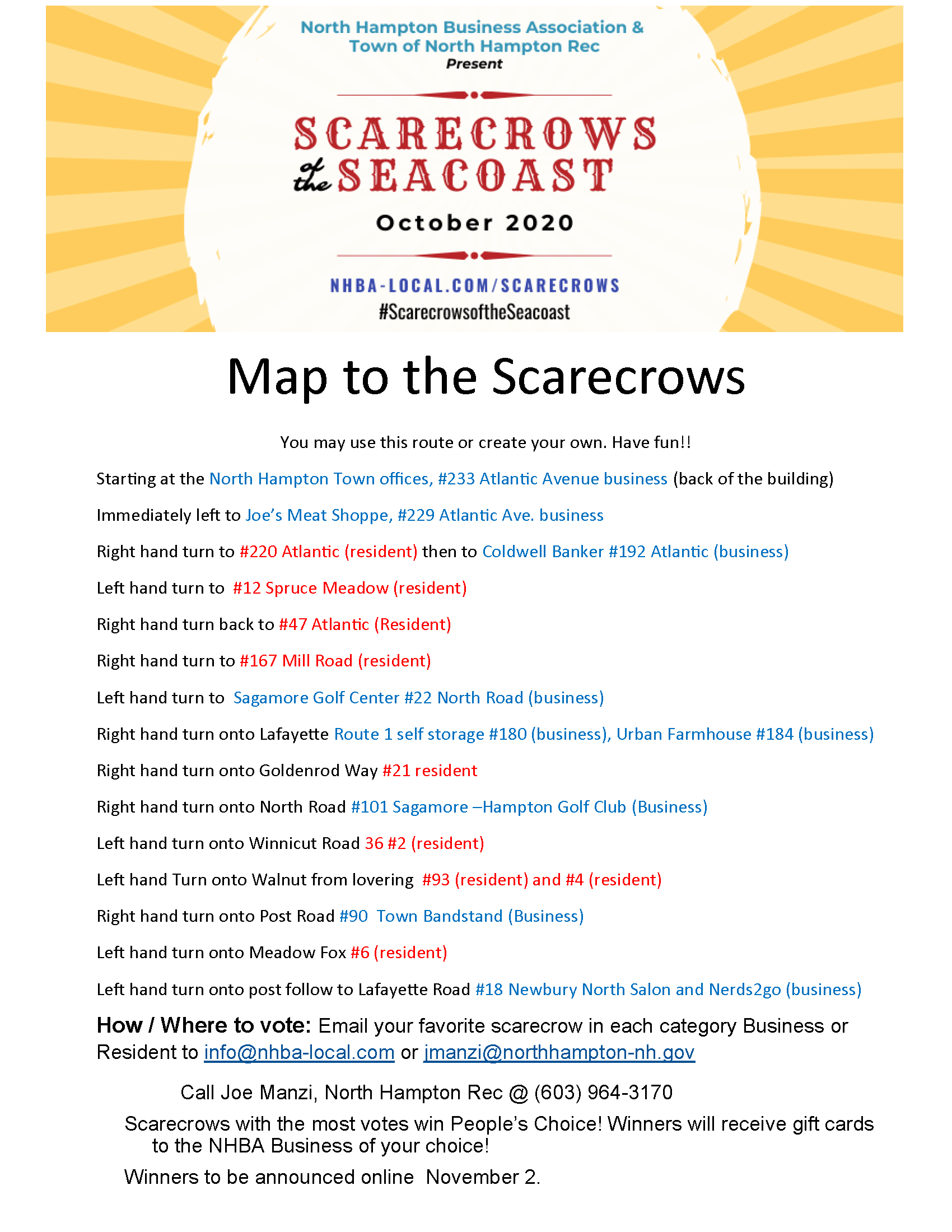 Scarecrows of the Seacoast 2020 Scarecrow Map